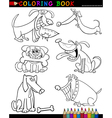 Cartoon Dogs for Coloring Book or Page Vector Image
