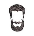 hand drawn hipster hairstyle beard and mustache vector image