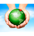 Green world have love bug in hands vector image