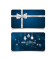 Holiday gift coupons with gift bows and christmas vector image