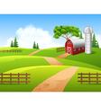 Cartoon of farm background vector image