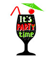 Cocktail glass silhouette its party time vector image