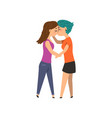 couple of gay women embracing and kissing lgbt vector image