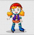 girl rollerskating on transparent background vector image