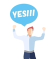 Male in a pose of success saying YES vector image