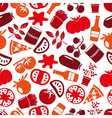 red tomatoes theme simple icons seamless pattern vector image