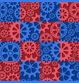 seamless background of red and blue color gear vector image