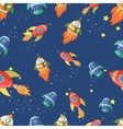 Seamless pattern cartoon rocket vector image