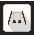 Wooden swings hanging on ropes icon flat style vector image