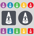 Spotlight icon sign A set of 12 colored buttons vector image