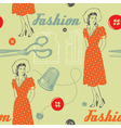 fashion background with scissors buttons and woman vector image vector image