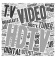 hdtv tuners text background wordcloud concept vector image