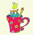 tea cup with ship vector image vector image