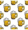 Beer tankards or mugs seamless pattern vector image vector image