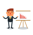 Businessman insolvency with graph down indicating vector image