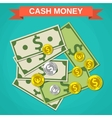 Cartoon money cash green dollars and coins vector image