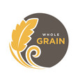 whole grain round logo with ears of wheat symbol vector image