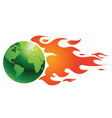 world with flames vector image vector image