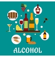 Flat alcohol drinks with snacks vector image