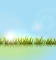 Morning meadow grass green reflection in river vector image