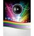 speaker rainbow background vector image vector image