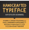 Handcrafted typeface letters and numbers vector image