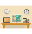 Business stock exchange on various media devices vector image
