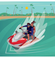 Couple on a water scooter vector image