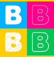 letter b sign design template element four styles vector image