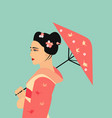 pretty geisha in kimono vector image