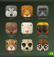 animal faces for app icons-set 14 vector image vector image