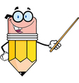 Pencil Teacher Cartoon Character Holding A Pointer vector image
