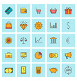 Business and finance icon set in flat design style vector image vector image