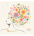 Beautiful Woman with Flowers and Butterflies vector image