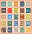 Hobby line flat icons on orange background vector image
