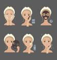 applying facial mask steps moisturizing and acne vector image