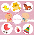 Baby birthday card vector image