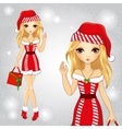Blonde Santa Candy Girl Holding A Bag vector image