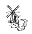 bread bakery and mill vector image