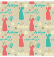 fashion background with scissors buttons and woman vector image