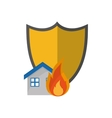 shield and house on fire icon vector image