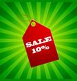 ten percent sale tag composition vector image