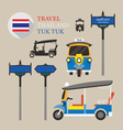 Thailand Tuk Tuk and Side-Street Sign Set vector image