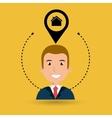 man house pin location vector image