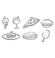 Doodle designs of the different foods vector image vector image