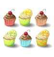 set of capkakes hand draw chocolate and citrus vector image