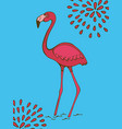 colorful hand drawn poster with flamingo on blue vector image