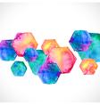 Watercolor bright hexagon over white vector image vector image