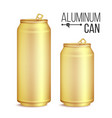 3d cans set gold yellow can beer lager vector image