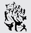 Taekwondo martial art silhouettes vector image